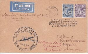 GB 1928  AIR  MAIL   FLIGHT LONDON - STOCKHOLM