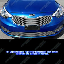 Fits 2014-2015 Kia Forte W/ Fog Light Cover Billet Grille Combo