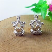 51588 Silver Tone Hollow Crown Shaped Alloy Charms Jewelry Pendants 59x