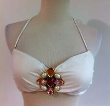 Victoria's Secret Bikini Top Off-White w/Bejeweled Metal Flower Size M
