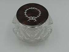 Antique Pique Sterling Silver & Shell Lid & Star Cut Base Glass Vanity Jar 1923