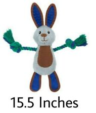 "Top Paw TUFF Nylon Rabbit - (1) Medium 15.5"" Rope Dog Toy HEAVY DUTY SQUEAKS"