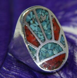 Vintage Men's Turquoise Coral Chip Inlaid 0.925 Sterling Silver Ring size 7.5