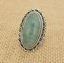 Large Aquamarine 925 Silver Ring Adjustable Size P to T Indian Jewellery