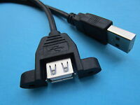 2 pcs USB 2.0 A Male to Female Extension Cable with Panel Mount Screw Hole 30cm