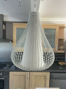 """Large White Hanging Cage Dome Ceiling Light & Shade~ Hangs 30"""" Feature"""