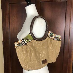 Relic Woven Tan Floral Sachel Shoulder Bag Purse Spring Handbag