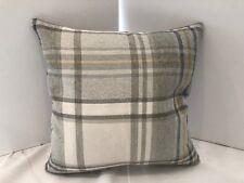 Strathmore Plaid Oatmeal, Grey & Ochre,Plain Grey back Cushion Cover