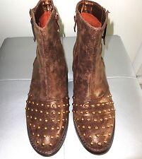 TRENDY Boots Bottines marron mordoré zip clous rivets Or doré SERGIO TOZZI T 39