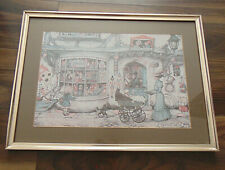 Anton Pieck Decoupage Picture Framed Art Print Large Rare Vintage