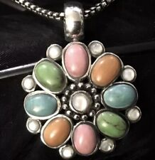 """Pearl Multi Stone Pendant Necklace 18"""" Sturdy Estate Sterling Silver Mother Of"""