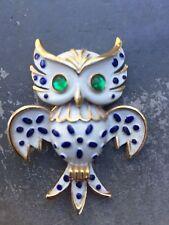 Pre-Owned, TRIFARI, Vintage,Gorgeous,Owl, Enamel,White/Blue,Gold Tone Pin/Brooch