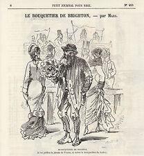Gravure ancienne 1880  le bouquetier de Brighton  par Mars XIXème