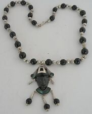 necklace & face pendant Mexico Taxco Amazing huge sterling & Onyx handmade beads