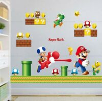 Large SUPER MARIO Wall Stickers Kids Nursery Boys Bedroom Decor Removable Vinyl