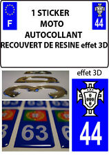 1 sticker plaque immatriculation MOTO TUNING 3D RESINE  FPF PORTUGAL DEPA 44