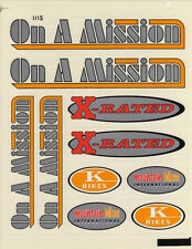 BMX BIKE BICYCLE STICKERS DECALS TRANSFERS - SET OF 10 - ON A MISSION X RATED