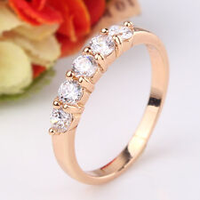 Chic white sapphire lady 18k gold filled nice-looking Band Ring SzJ-SzR