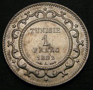 TUNISIA 1 Franc AH 1309 / AD 1892 A - Silver - VF/XF - 1284