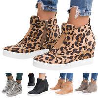 Women Hidden Heel Zipper Platform Shoes High Top Round Toe Flats Casual Trainers