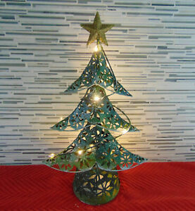 """15 1/2"""" Lighted Metal SnowFlake Cut Out Green CHRISTMAS TREE w/Gold Star on Top"""