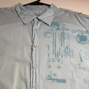 Guess Men's Short Sleeve Button Up Shirt XL Light Blue Graphic Print Snap Button