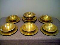 Vintage Set of Twelve Indian/Islamic Gilt Brass Bowls and Saucers (Islamic Dish)