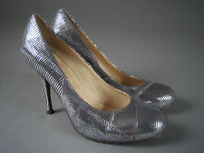 JEFFREY CAMPBELL 'VARLA' Silver Leather HIGH HEEL PUMPS Size 8 M Party Shoes !