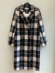 COAT SIZE 14 BY MICHELLE KEEGAN DOUBLE BREASTED CHECK WOOL MIX POCKETS BNWT