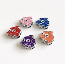 10PCS 8mm Enamel Cartoon Fish Slide Charms Fit 8mm Pet Collar Name Belt Bracelet