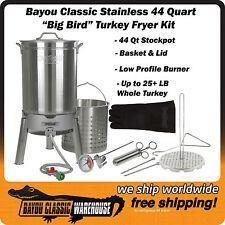 "Turkey Deep Fryer ""Big Bird"" Jumbo Kit For 25+ lbs Turkeys All Stainless Steel"