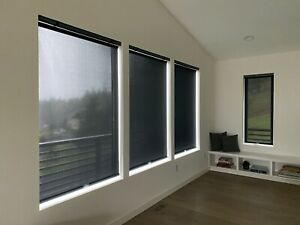 Modern Black Bali Solar Roller Shade Mineral Point 5% Opacity 48308 -6 Available