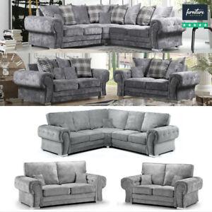 Verona Grey Fabric Corner Sofa - 3 & 2 Seater / Armchair | Scatter or High Back