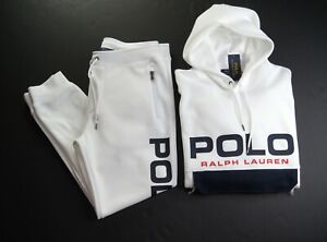 POLO RALPH LAUREN Men's White Mesh Cotton Blend Pullover Hoodie & Pant Set NWT