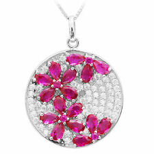4.5ct Fabulous Pigeon Blood Ruby Flower Pendant Necklace Solid Sterling Silver