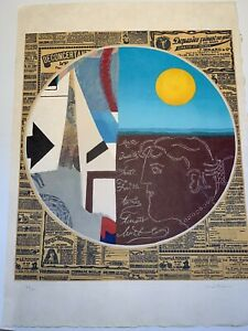 MAX PAPART Lithographic Etching with Mixed Media, Circle,WITH ENGRAVING.  SIGNED