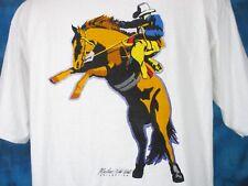 vintage 90s MARLBORO WILD WEST COWBOY POCKET T-Shirt LARGE/XL cigarettes horse