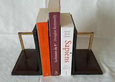 Modern Leather bookends with brass handles