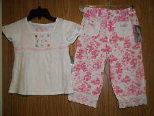 Flapdoodles Girls Size 6 Pink White 2 Piece Top Ode to Toile