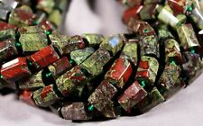 "AFRICAN DRAGON BLOOD JASPER 11-15MM 6-SIDED TUBE BEADS 16""  BLOODSTONE CYLINDER"