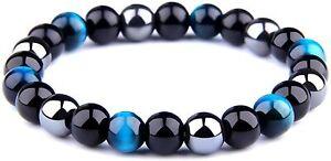 Tiger Eye Obsidian Hematite Triple Bracelet Bring Protect Good Luck Men Women