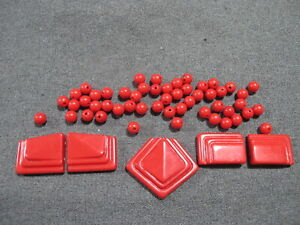 Vintage 80's red plastic medallions & rounded loose beads for jewelry making