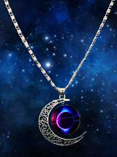 2016 Stylish Women Star Wars Crescent Moon Glass Cabochon Pendant Necklace LV-13