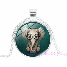 Creative jewelry Cabochon Glass silver Necklace pendants:Elephant listen music