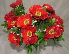 24 X ARTIFICIAL SILK  RED POPPY  BUSH 5 FLOWERS EACH  - JOB LOT / BUNDLE CRAFTS