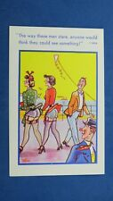 Risque Comic Postcard 1950s Nylons Stockings Garter Belt French Knickers KITE