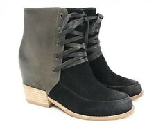 aaef3b52728a ANTELOPE 753 Black Suede Gray Oiled Leather Lace Zip up Ankle Boots Women  38 7