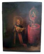 Antique 19th C Russian Hand Painted Wooden Icon of St.Stylianos