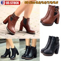 Women's Leather Short Ankle Boots Ladies Casual Mid Block Heel Chunky Booties