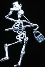 "SILVER TONE HALLOWEEN TRICK TREAT TOP HAT SKELETON PIN BROOCH JEWELRY 3"" MOVABLE"